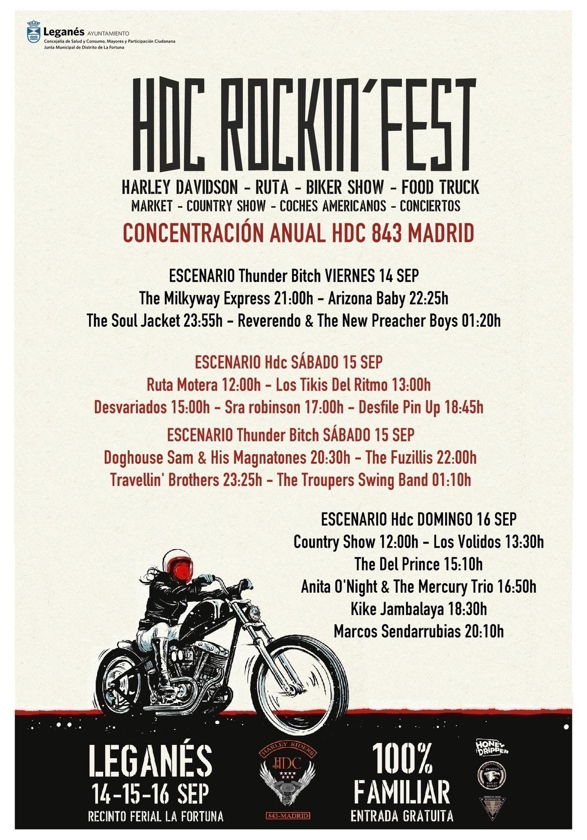 """Del 14 al 16 de septiembre se celebrará en el recinto ferial de la Fortuna de Leganés, el Festival HDC Rockin' Fest. Según un comunicado emitido por la organización, """"será imposible no escuchar el furioso rugir de los motores."""