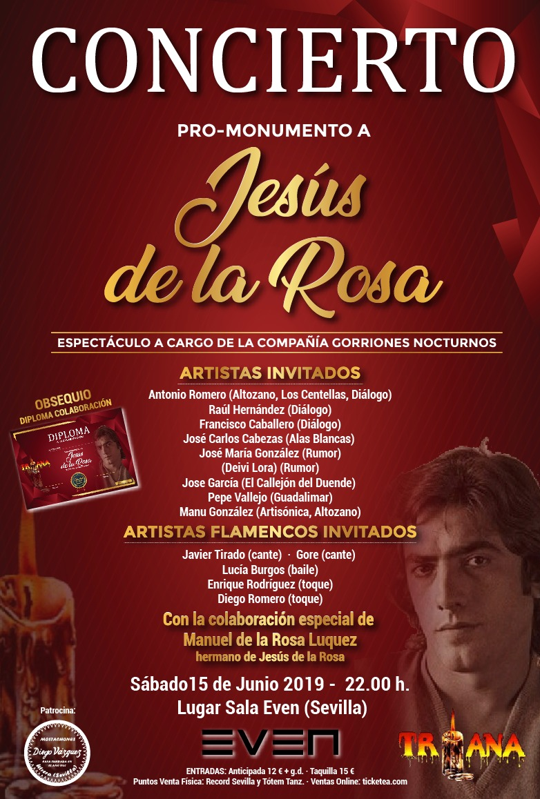 El precio de las entradas de este concierto Pro-Monumento a Jesús de la Rosa es de 12 euros más gastos de gestión