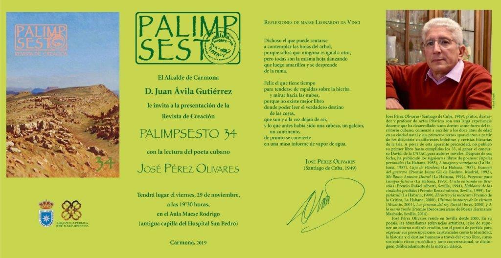 El poeta cubano José Pérez Olivares, en la presentación del número 34 de la revista Palimpsesto