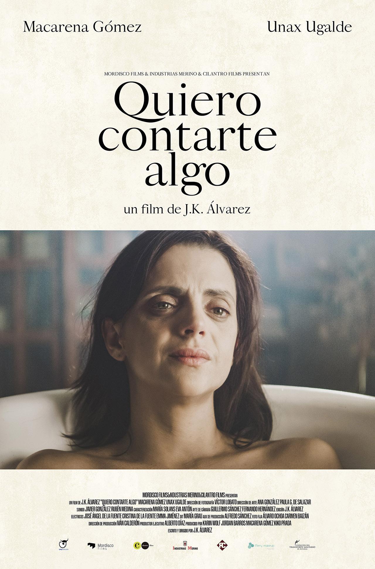 """J.K. Álvarez: """"Quiero contarte algo es un corto rodado en plano secuencia, siete minutos de conversación sostenidos en un primer plano"""""""